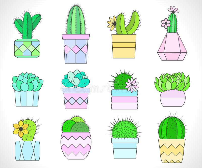 Vectorreeks cactussen en succulents in bloempotten