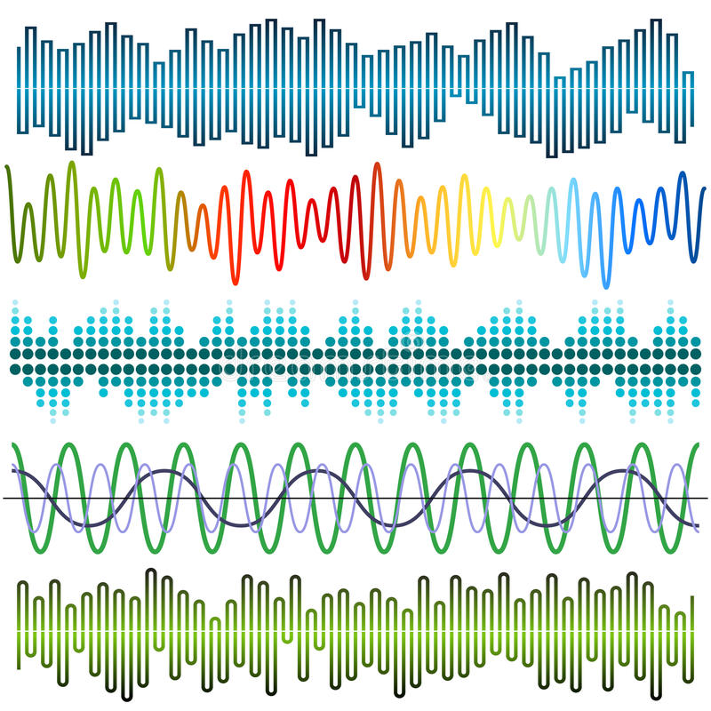Vectorreeks correcte golven Audioequaliser Correcte & Audiogolven vector illustratie