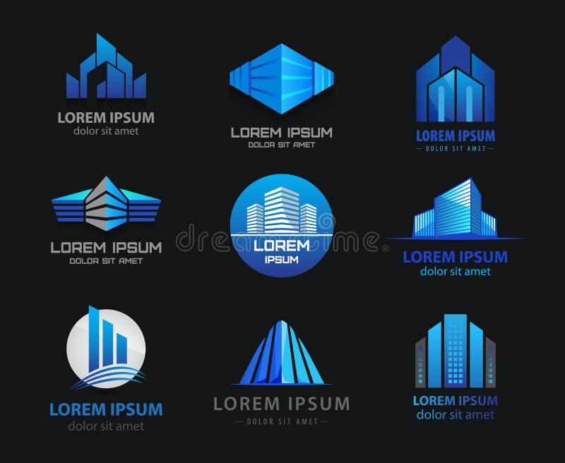 Vectorreeks 3d blauwe bureaugebouwen, huizen vector illustratie