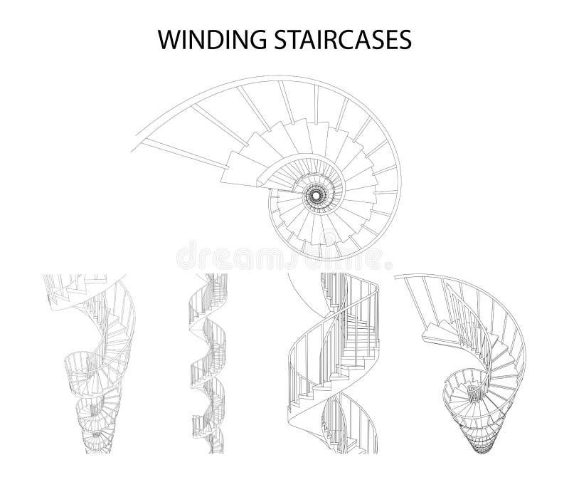 Vectorreeks 3d spiraalvormige windende trappen royalty-vrije illustratie