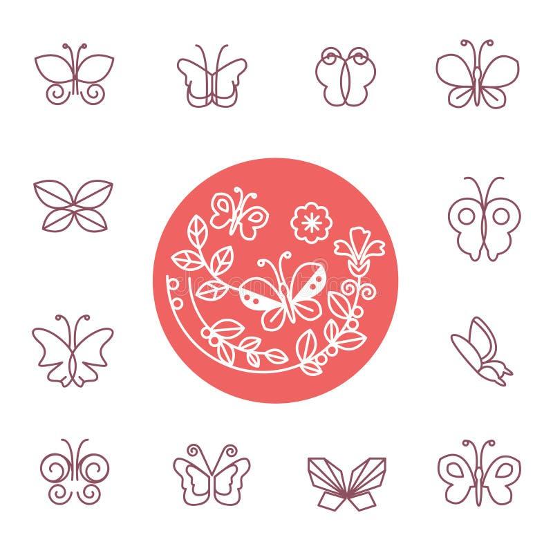 Vectorreeks de emblemen en pictogrammen van de lijnvlinder stock illustratie