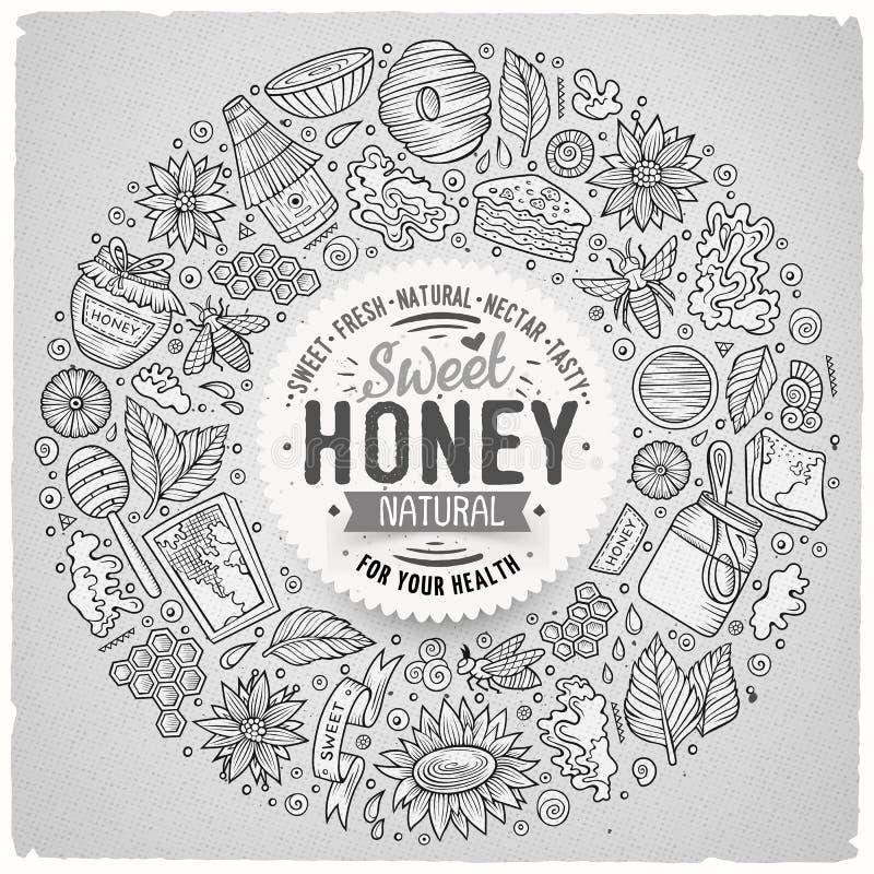 Vectorreeks de krabbelvoorwerpen van het Honingsbeeldverhaal stock illustratie