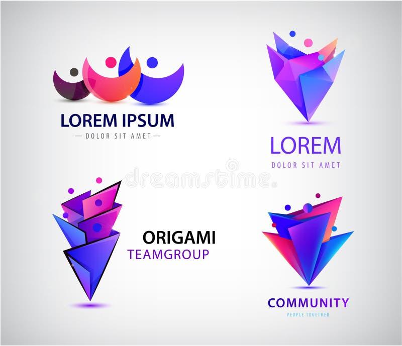Vectorreeks de mensenemblemen van origami 3d mensen Familieconcept, mens, groepswerk, mensen samen vector illustratie