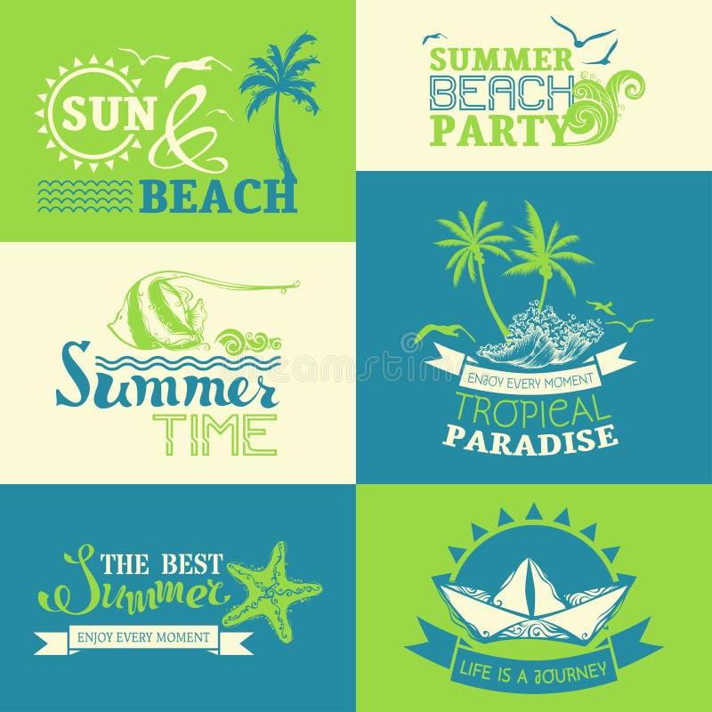 Vectorreeks de zomer en reisetiketten en symbolen stock illustratie