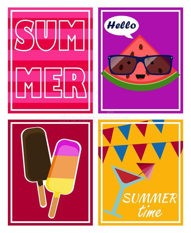 Vectorreeks, de zomeraffiches met roomijs, tekst, watermeloen, de pasteitjezomer, cocktail vector illustratie