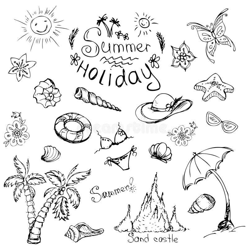 Vectorreeks de zomerreis en vakantieemblemen en symbolen vector illustratie