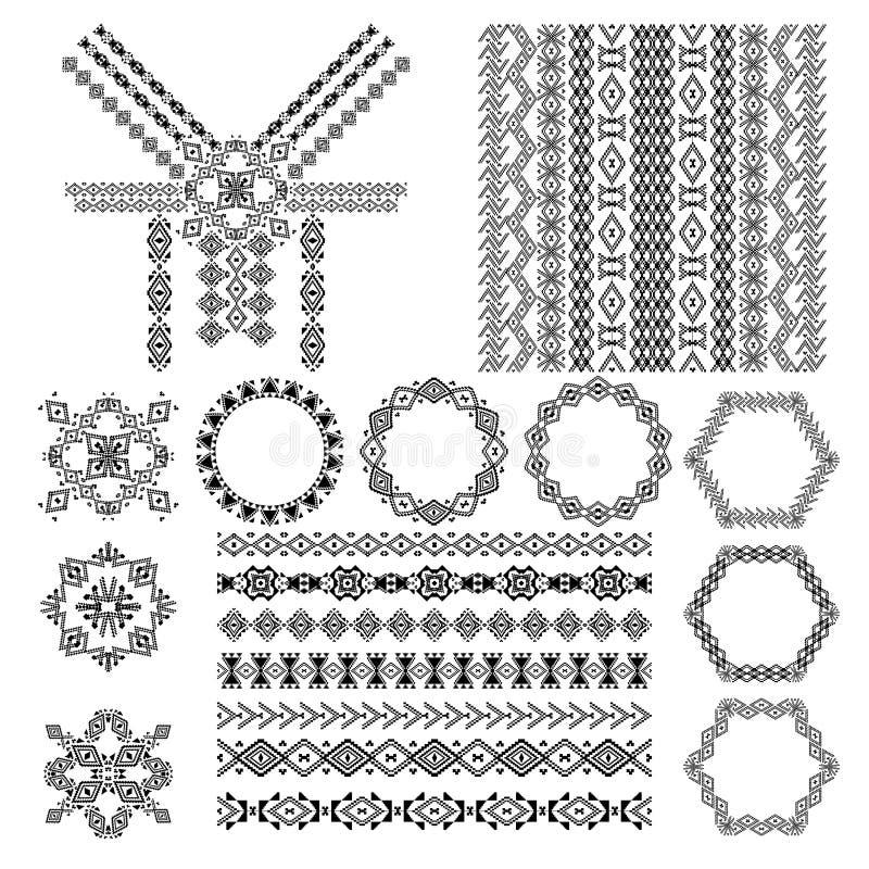 Vectorreeks decoratieve elementen voor ontwerp en manier in etnische stammenstijl Halsontwerp, patronen, naadloze textuur, kaders stock illustratie