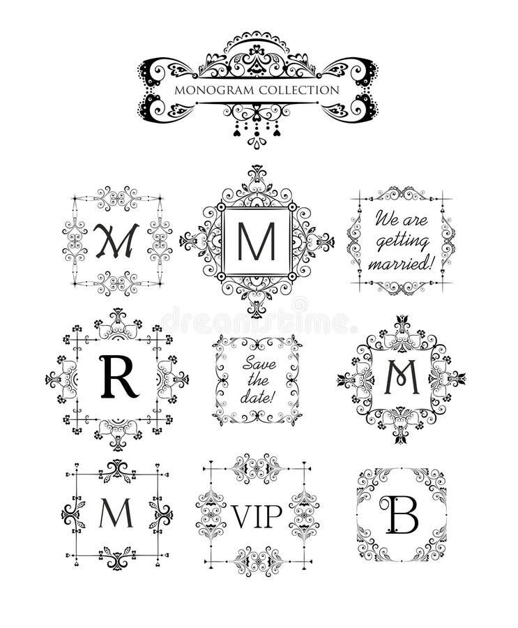 Vectorreeks decoratieve kaders voor huwelijksuitnodiging, de kaart van de verjaardagsgroet, vignet voor embleemmalplaatje, uitste vector illustratie