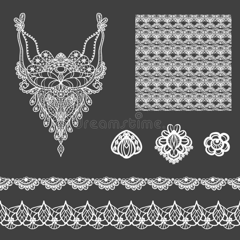 Vectorreeks decoratieve kantelementen voor ontwerp en manier in etnische Indische stijl Halslijn, naadloos, grenzen en patronen stock illustratie