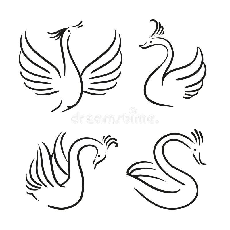Vectorreeks decoratieve vogels Zwaansilhouet royalty-vrije illustratie
