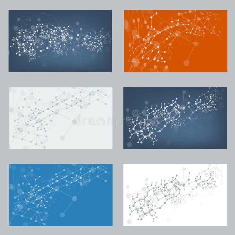 Vectorreeks digitale achtergronden voor DNA-moleculestructuur royalty-vrije illustratie