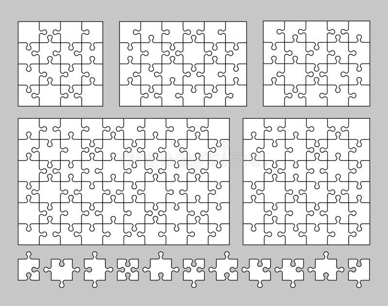 Vectorreeks diverse raadsels en figuurzaagstukken 16, 20, 24, 36 en 60 stukken Vector illustratie royalty-vrije illustratie