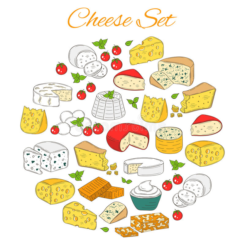 Vectorreeks diverse types van kaas, hand getrokken die illustratie op witte achtergrond wordt geïsoleerd royalty-vrije illustratie