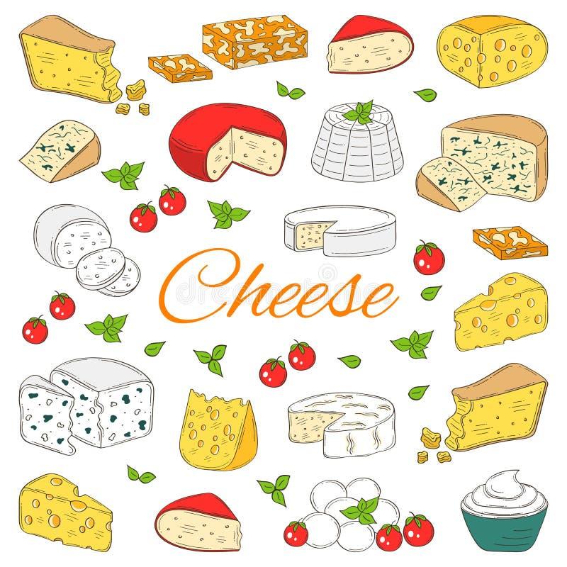 Vectorreeks diverse types van kaas, hand getrokken die illustratie op witte achtergrond wordt geïsoleerd vector illustratie
