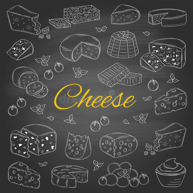 Vectorreeks diverse types van kaas, hand getrokken illustratie op bordachtergrond royalty-vrije illustratie