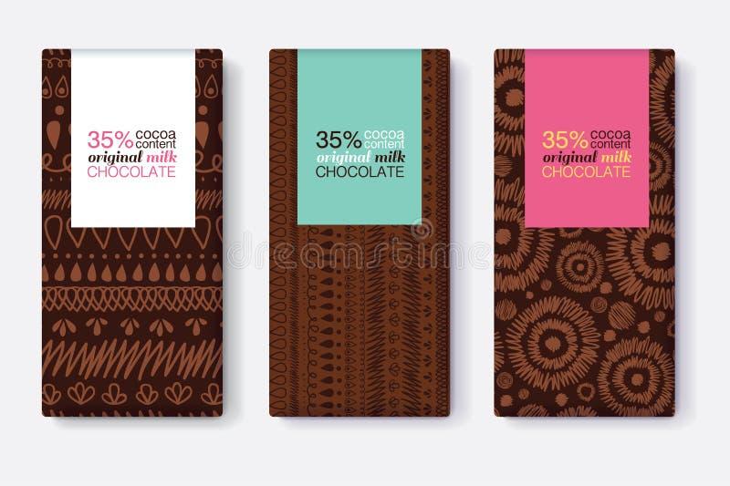 Vectorreeks Donkere Bruin van de Ontwerpen van het Chocoladereeppakket met Moderne Stammenikat-Patronen en Kleurrijke Rechthoekka vector illustratie