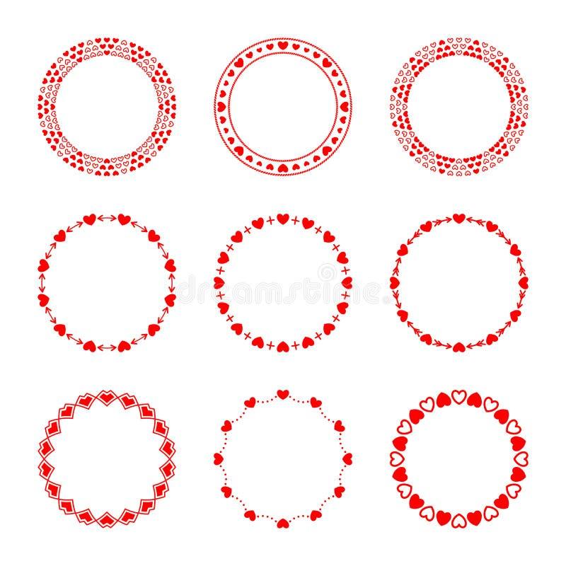 Vectorreeks eenvoudige moderne ronde rode kaders in liefdestijl royalty-vrije illustratie