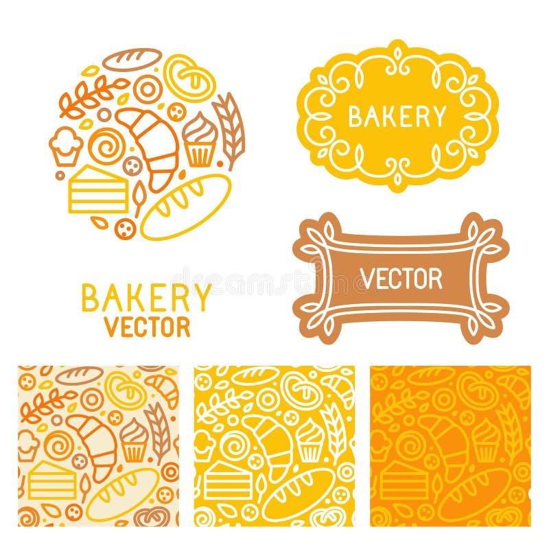 Vectorreeks elementen van het embleemontwerp met pictogrammen stock illustratie