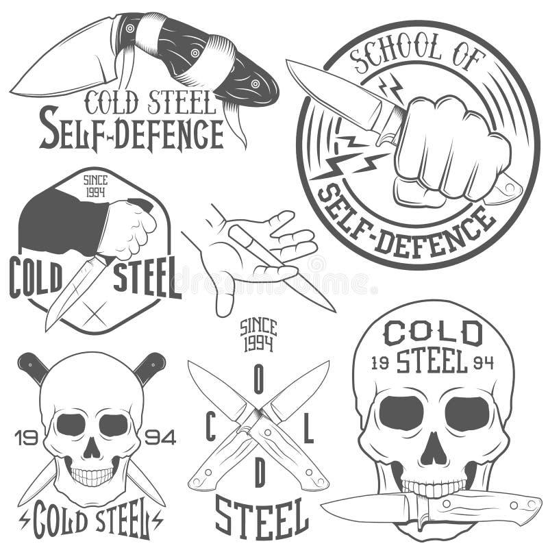 Vectorreeks emblemen met menselijk schedel en mes vector illustratie