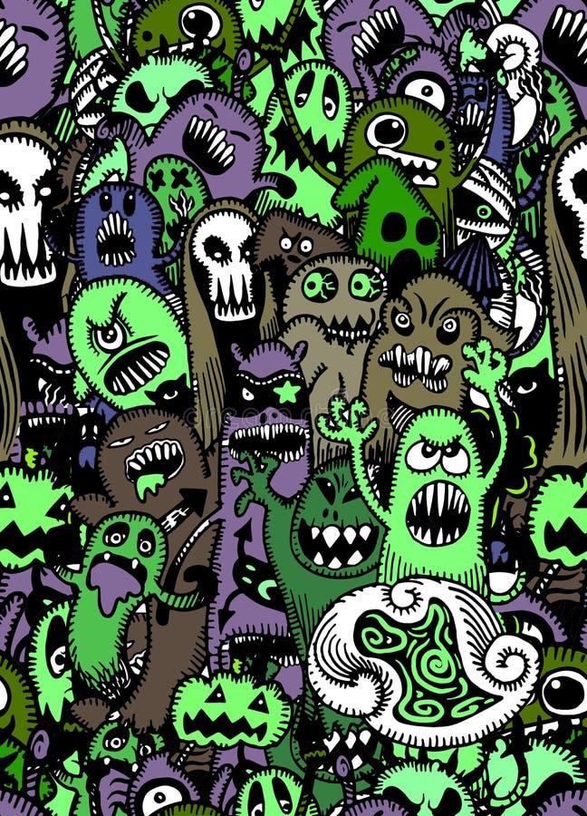 Vectorreeks enge, Grappige kleurrijke karakters met verschillende emo vector illustratie