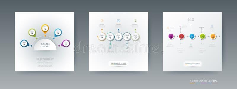 Vectorreeks, etiket van de infographics 3D cirkel met 5 opties of stappen royalty-vrije illustratie