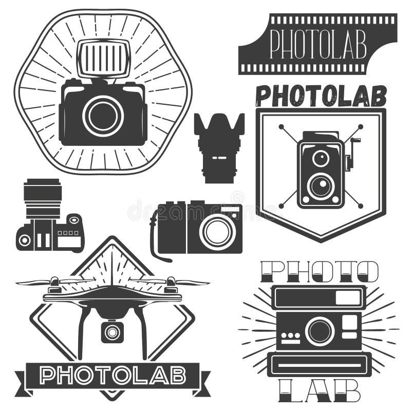 Vectorreeks fotografie en embleemmalplaatjes Fotostudio logotypes, ontwerpelementen stock illustratie