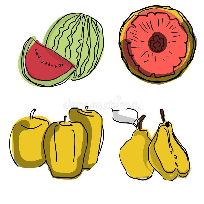 Vectorreeks fruitplakken: watermeloen, fruit, kiwi, ananas, grapefruit, appel Inzameling van de zomervoedsel De verse vruchten zi vector illustratie