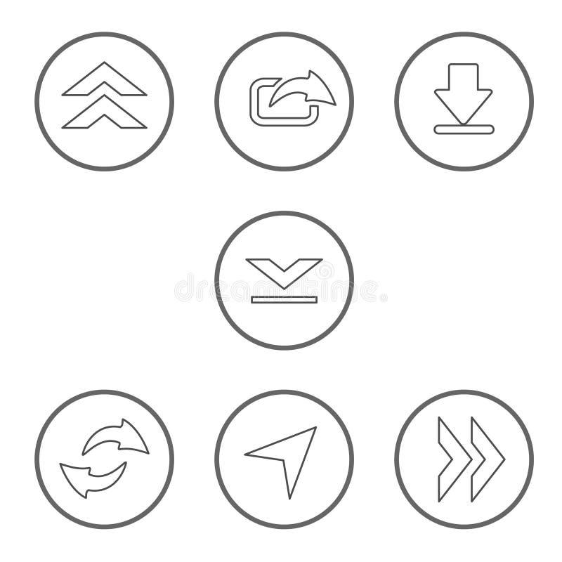 Vectorreeks gedeelde pijlen met cirkelknoop De communicatie pictogrammen van download, uploaden, aandeel voor mobiel, smartphone  royalty-vrije illustratie