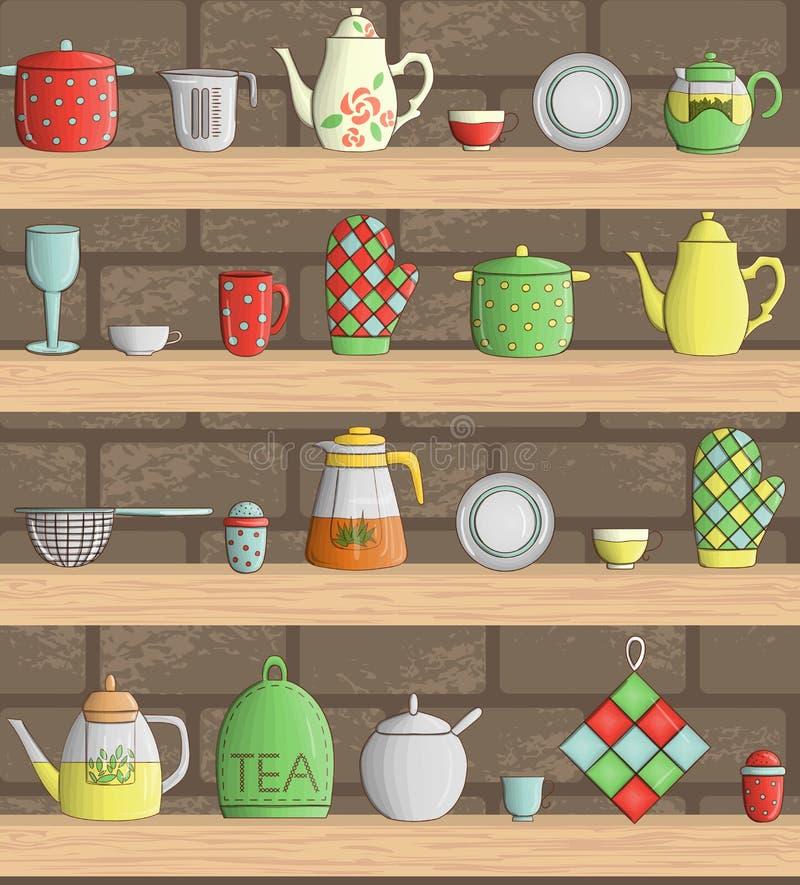 Vectorreeks gekleurd keukengereedschap op planken met baksteenachtergrond stock illustratie