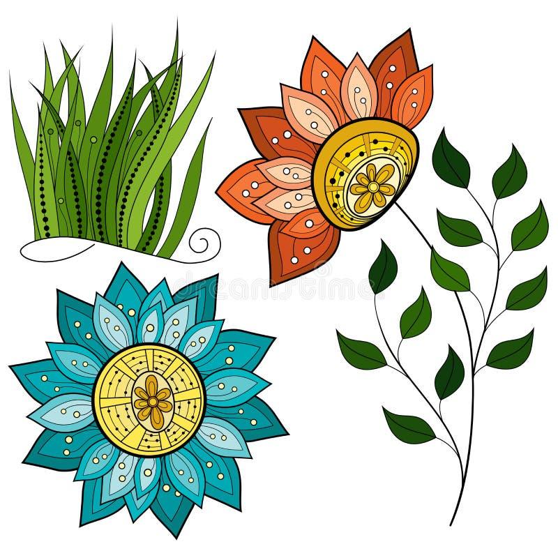 Vectorreeks Gekleurde Contourbloemen en Bladeren stock illustratie