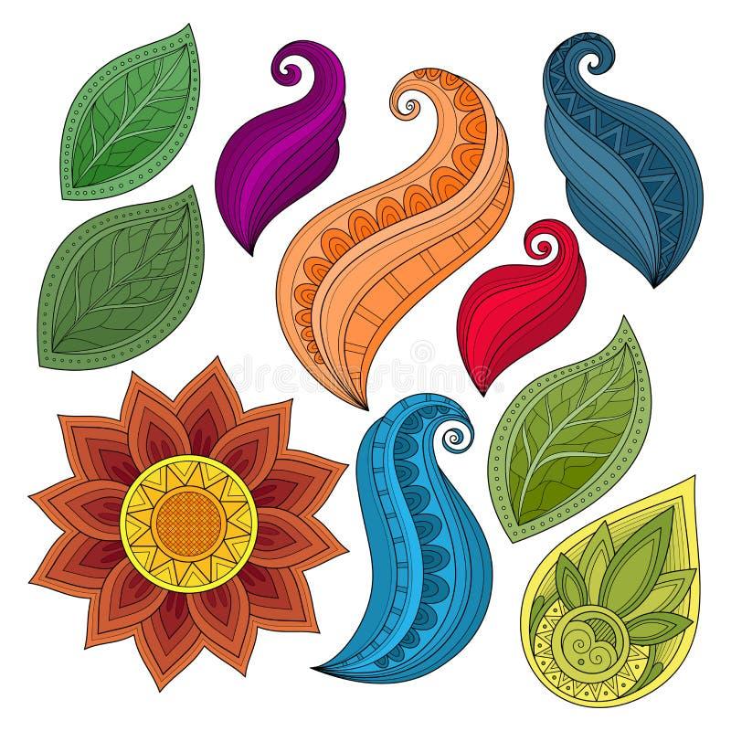 Vectorreeks Gekleurde Contourbloemen en Bladeren vector illustratie