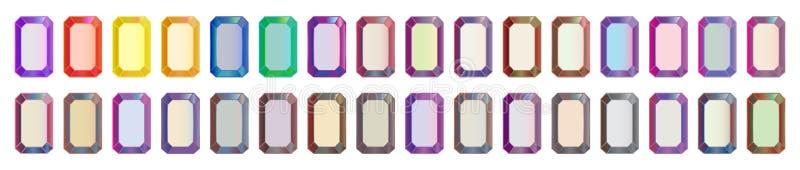 Vectorreeks gekleurde gemstenen, rechthoekige besnoeiingsdiamanten vector illustratie