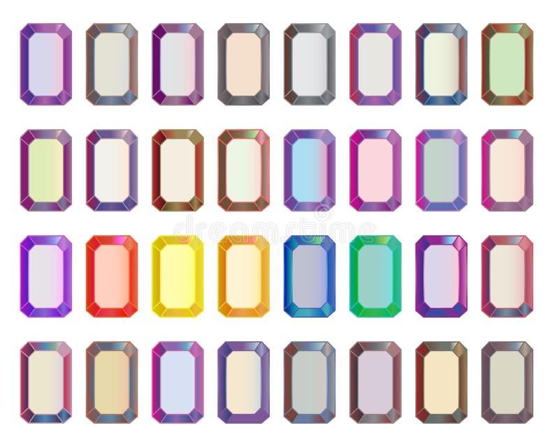 Vectorreeks gekleurde gemstenen, rechthoekige besnoeiingsdiamanten stock illustratie
