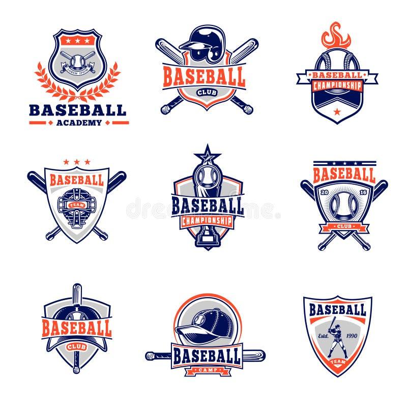 Vectorreeks gekleurde honkbalkentekens, stickers, emblemen royalty-vrije illustratie