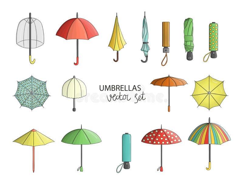 Vectorreeks gekleurde paraplu's royalty-vrije illustratie