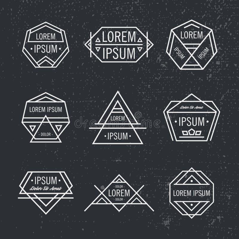 Vectorreeks geometrische lijn hipster emblemen, pictogrammen, kentekens stock illustratie