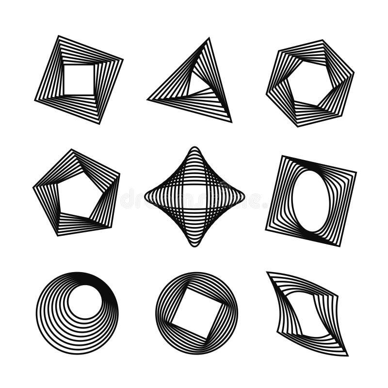 Vectorreeks geometrische vormen van de spirographstijl royalty-vrije illustratie