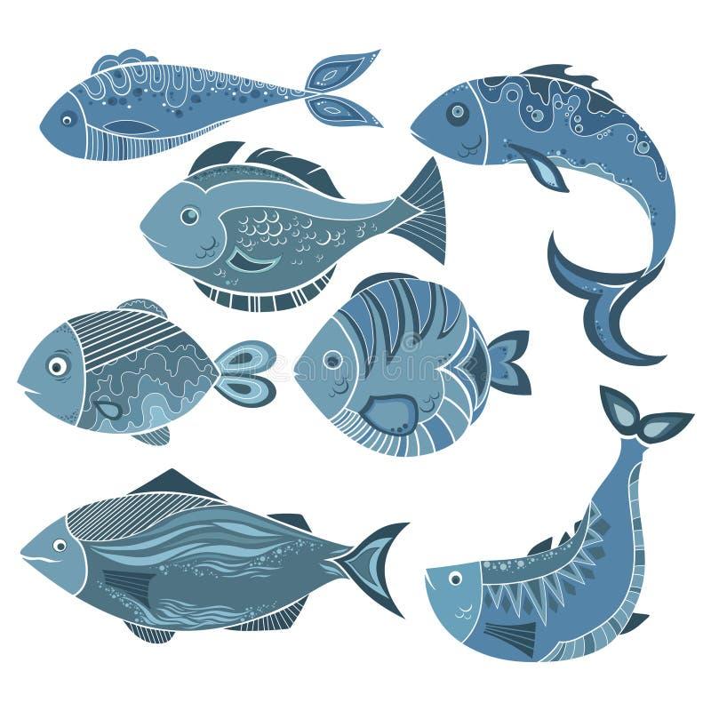 Vectorreeks gestileerde vissen Een inzameling van beeldverhaalvissen Het mariene leven Illustratie voor kinderen royalty-vrije illustratie
