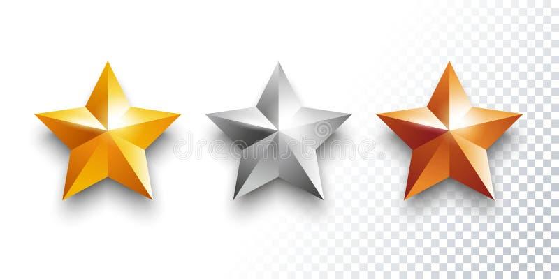 Vectorreeks goud, zilver en bronsmedailles met sterren vector illustratie
