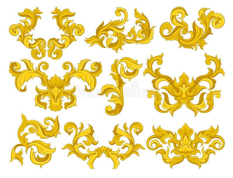 Vectorreeks gouden barokke ornamenten Luxueuze bloemenpatronen Decoratieve elementen voor uitnodiging of groetkaart royalty-vrije illustratie
