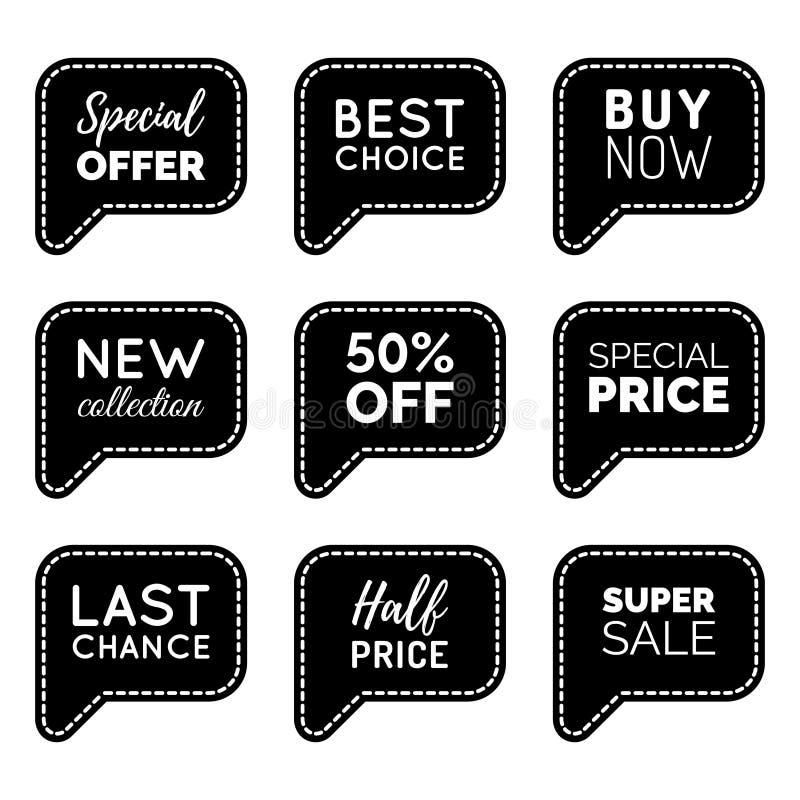 Vectorreeks grappige toespraakbellen met verkoopuitdrukkingen De inzameling van de kortingskaart, koopt nu, Speciale aanbieding,  vector illustratie