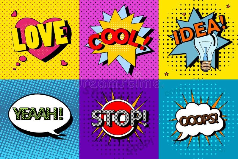 Vectorreeks grappige toespraakbellen in pop-artstijl Ontwerpelementen, tekstwolken, berichtmalplaatjes stock illustratie