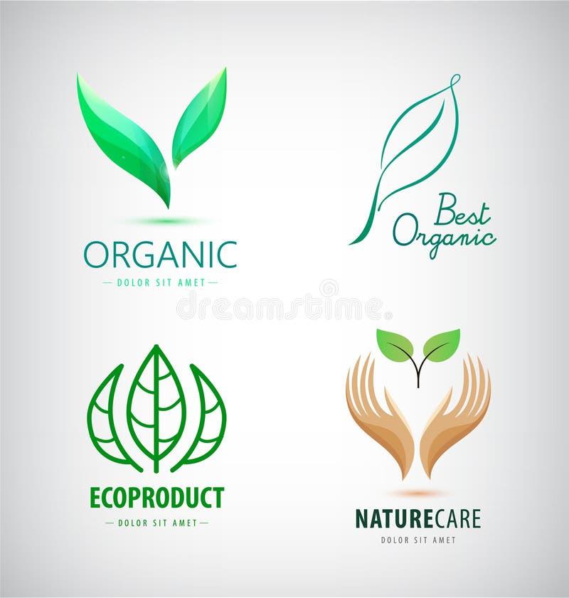Vectorreeks groene blademblemen, eco, biologisch productpictogrammen stock illustratie