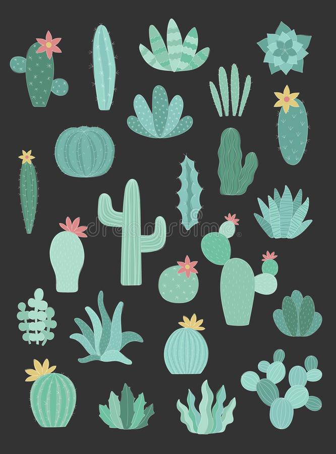 Vectorreeks groene cactussen met wit silhouet op de donkere achtergrond Hand-drawn illustratie van een cactus in Skandinavische s stock illustratie