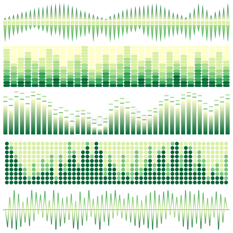 Vectorreeks groene correcte golven Audioequaliser Correcte & Audiogolven stock illustratie