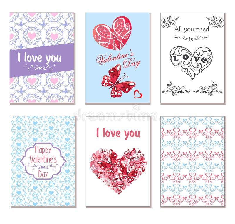 Vectorreeks groetkaarten met harten, vlinders en bloemen Geschikt voor uitnodigingen, groeten voor Gelukkig Valentine ` s vector illustratie