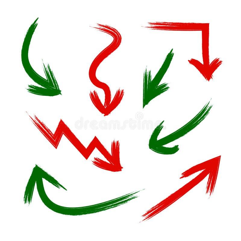 Vectorreeks Grunge-Pijlen, Presentatieelementen, Rode en Groene Kraspijlen vector illustratie