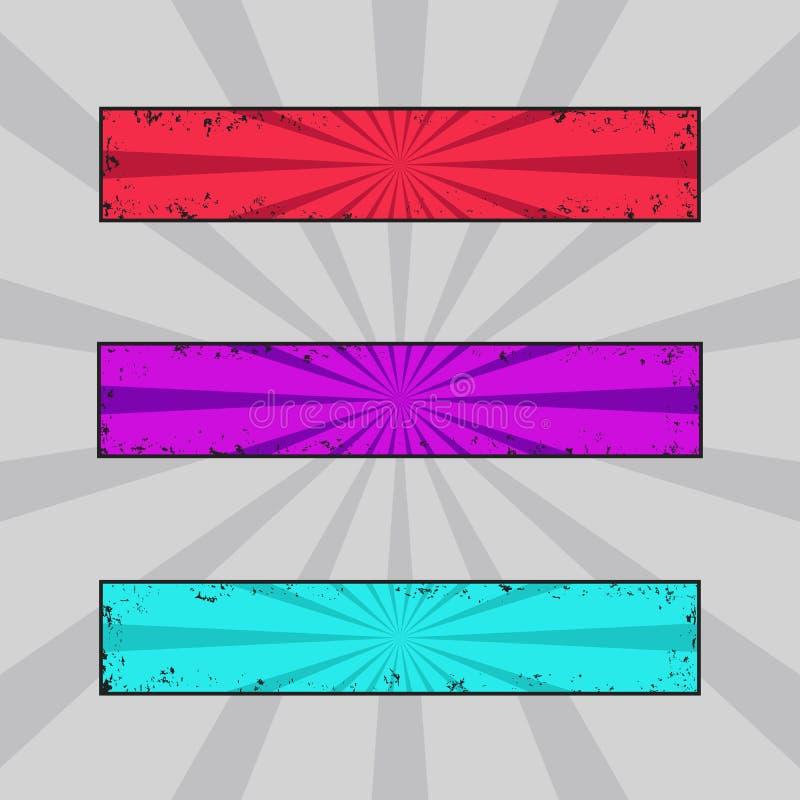 Vectorreeks grungy gekleurde banners, grunge kopballen met retro stralen royalty-vrije illustratie
