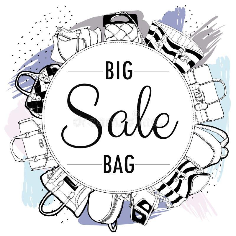 Vectorreeks hand-drawn het winkelen zakken voor reclameverkoop, banner, uithangbord stock illustratie