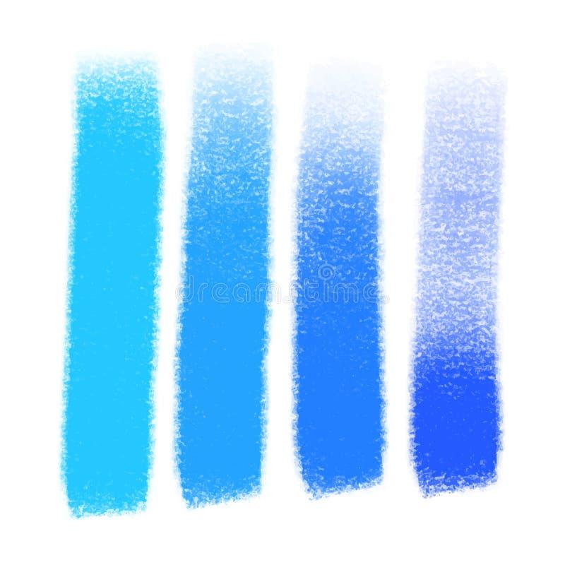 Vectorreeks hand getrokken borstelslagen en vlekken Blauwe artistieke hand getrokken achtergronden van kleuren diverse tinten vector illustratie